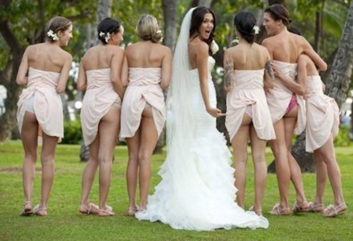 nude wedding dress 18 Really Awkward Wedding Moments Gallery Bridal Party in all their glory Picture Break