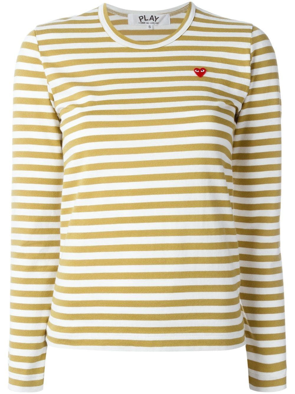 Comme Des Garçons Play mini heart striped T shirt Neutrals