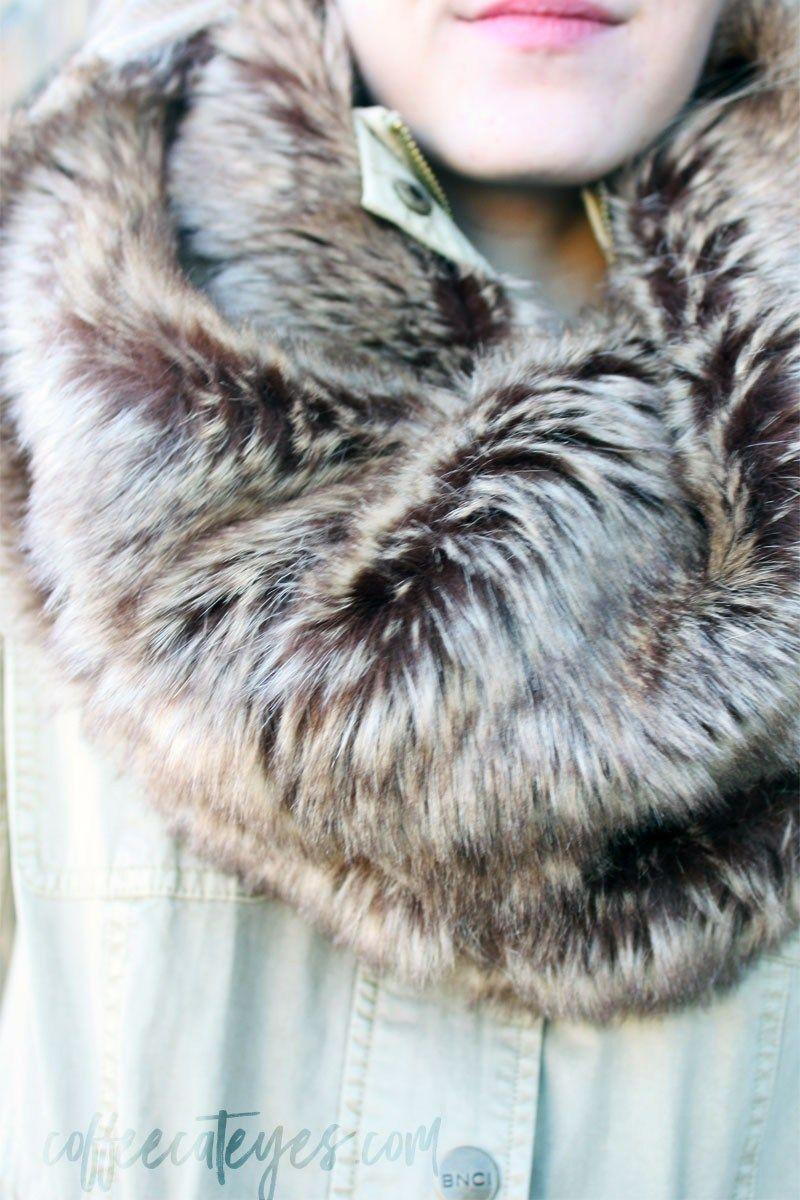 Faux Fur Infinity Scarf Cat Eyes And Sponn Kuku Coffee