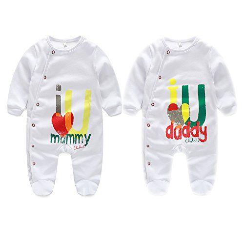 AOMOMO Unisex-Baby Newborn Footie Long Romper I Love Mummy I Love Daddy Bodysuit 2 Pack
