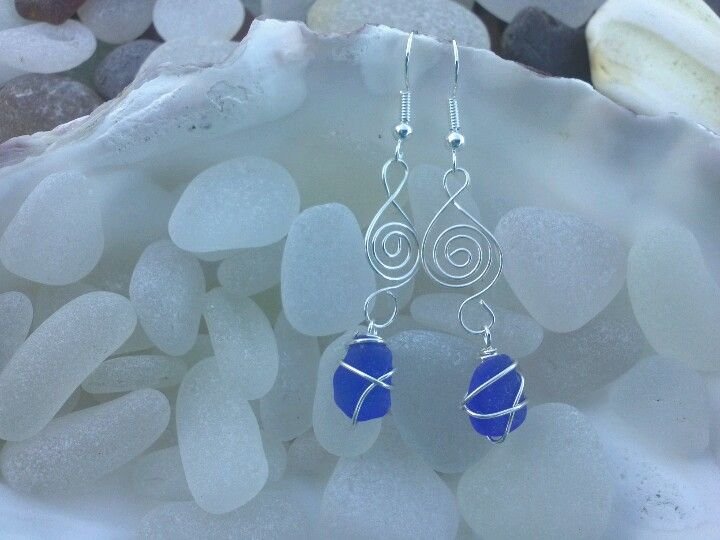 Cobalt blue sea glass earrings