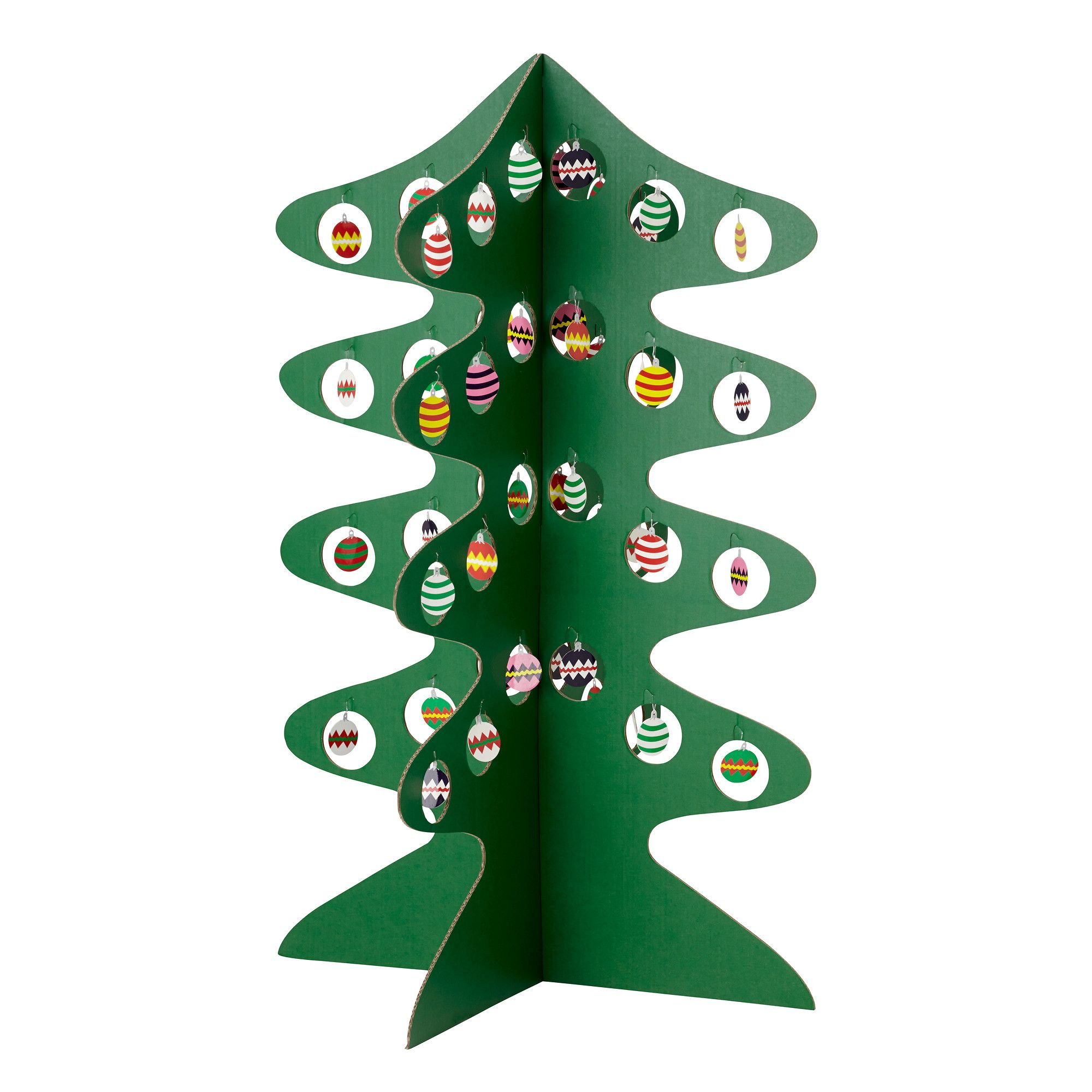 corrugated cardboard Christmas tree with 48 paper decorations 39 ¼