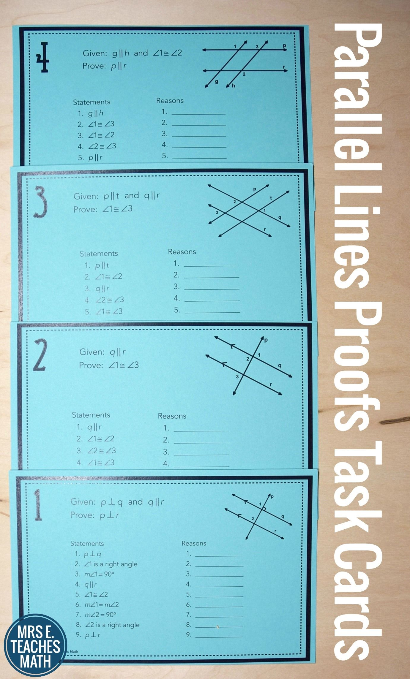 Parallel Lines Proofs Task Cards | Geometry | Pinterest ...