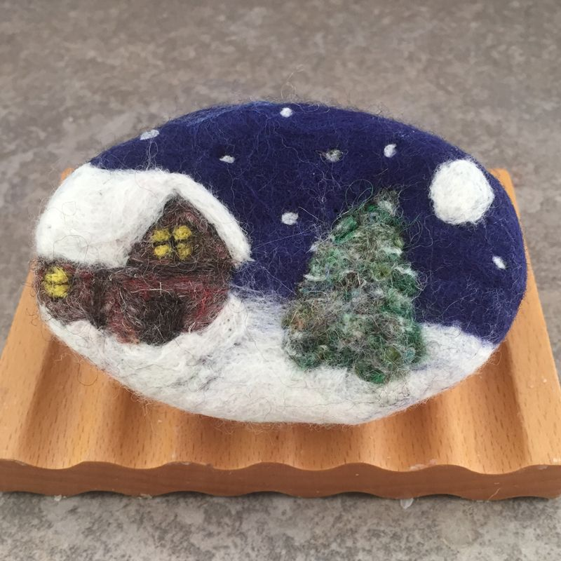 Just a quick update on some new winter themed felted soap. Each underlying soap is a bar of my cold process handcrafted soaps created from s... #feltedwoolanimals
