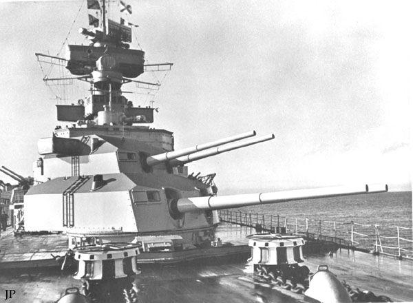 8 in forward turrets of WW2 German heavy cruiser Admiral Hipper.