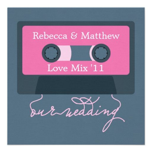 Retro Cassette Tape Wedding Card Wedding card Custom invitations