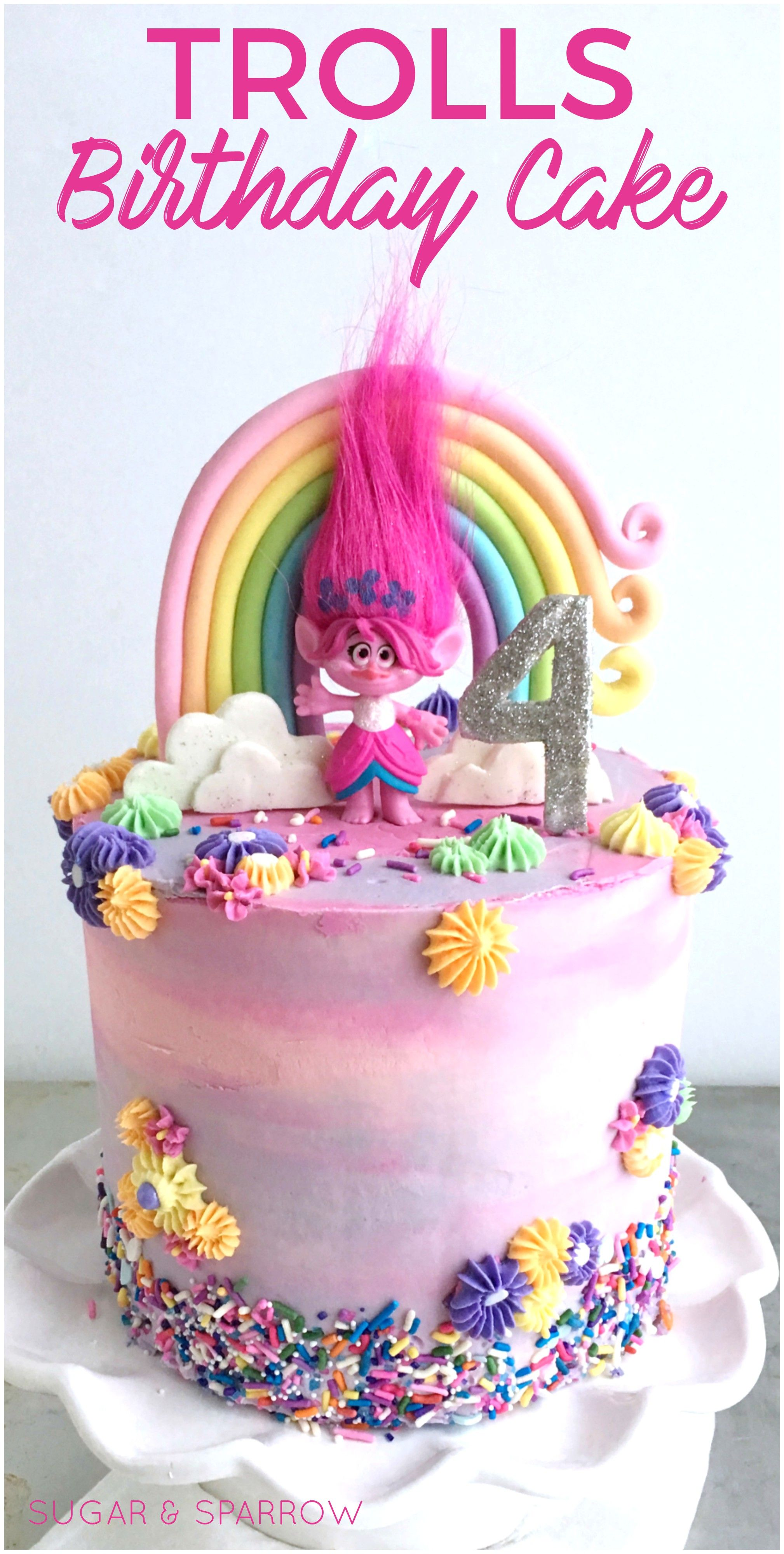 Trolls Birthday Cake With Fondant Rainbow And Edible Glitter By