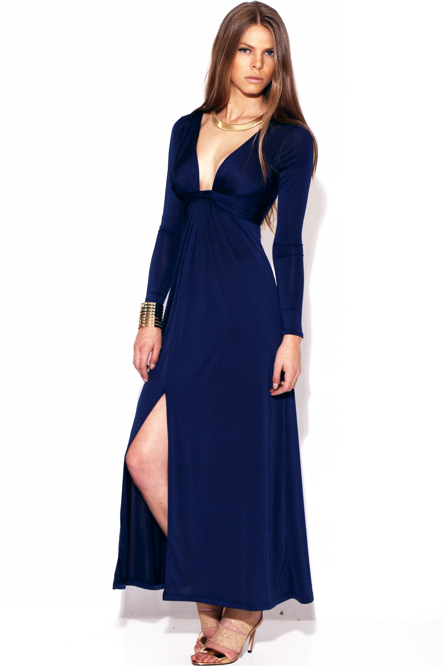 Midnight blue deep v knot front high slit long sleeve evening party