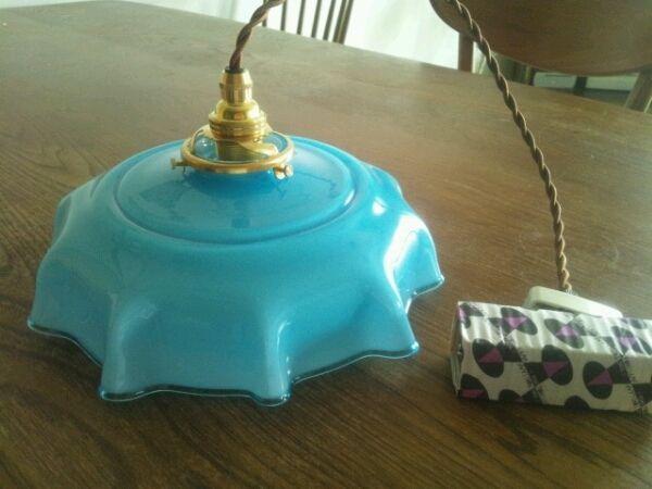 アンティークガラスランプシェードブルー新品照明器具付き Antique lamp shade ¥13500yen 〆04月10日