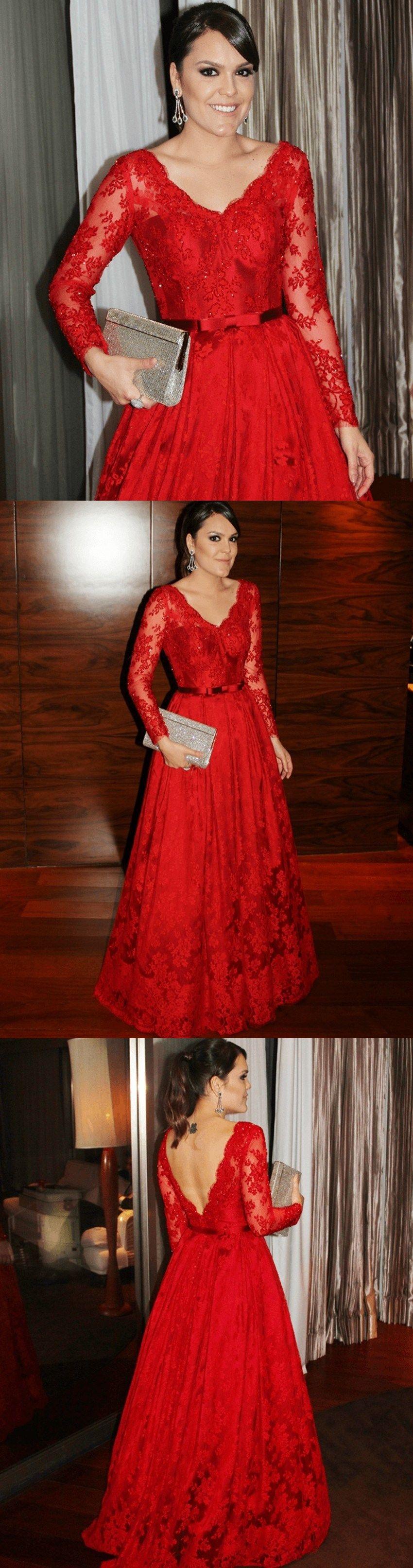 Elegant vneck lace applique red prom dress belt long sleeves beads