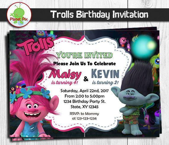Trolls Poppy And Branch Double Birthday Invitation Twins Or Trolls Birthday Party Sibling Birthday Parties Trolls Birthday