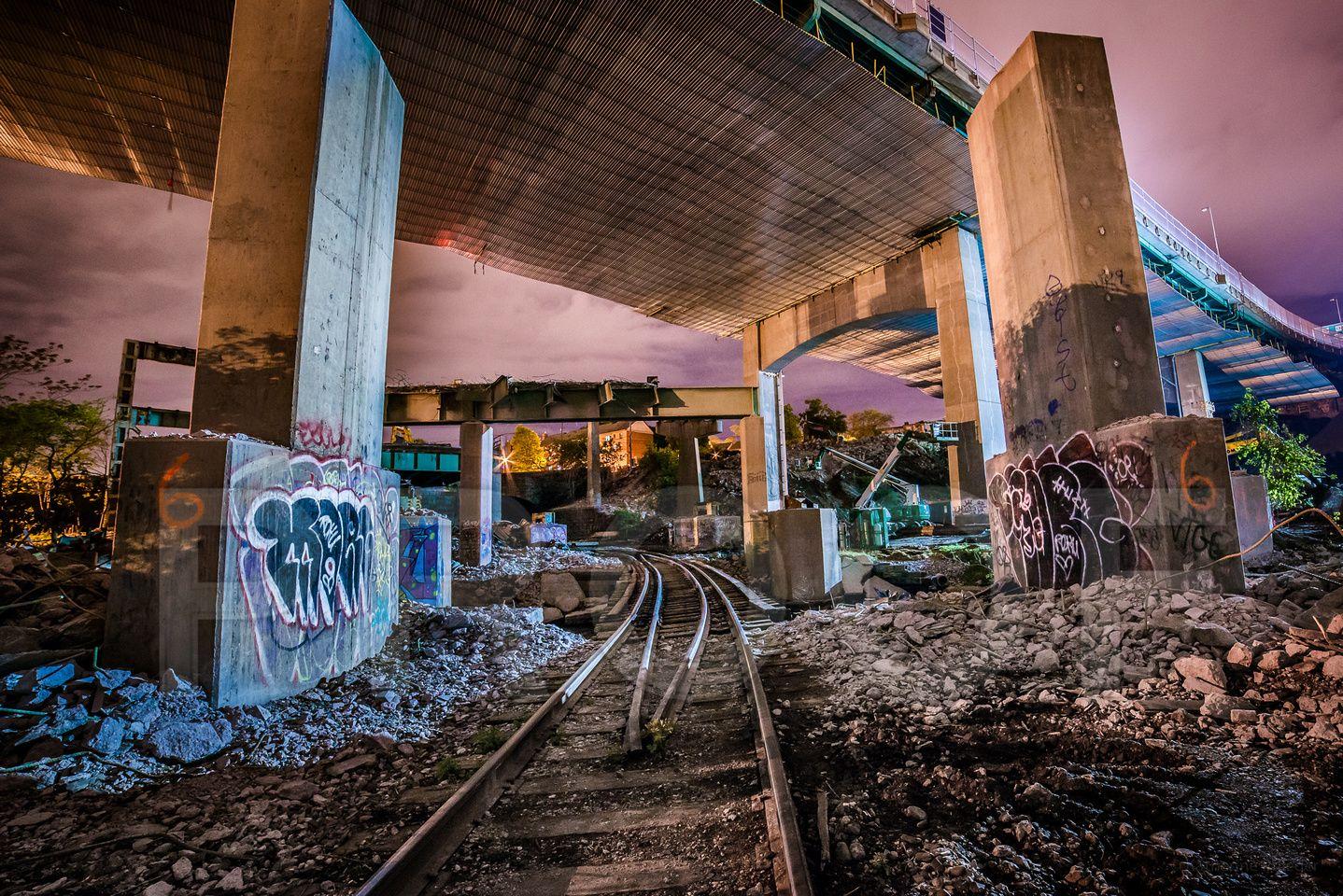 Graffiti ruins by train tracks fall river massachusetts