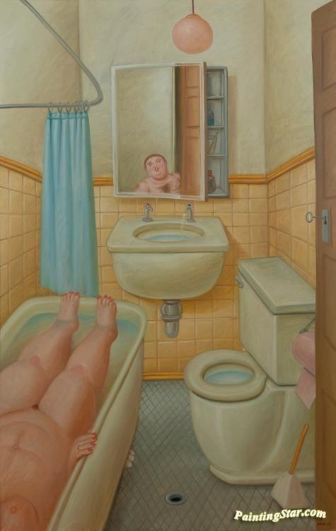 Bathroom Canvas Art: The Bathroom Artwork By Fernando Botero Hand-painted And