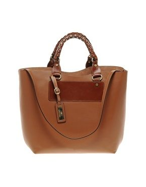 River Island Tan Hard Leather Tote At Asos