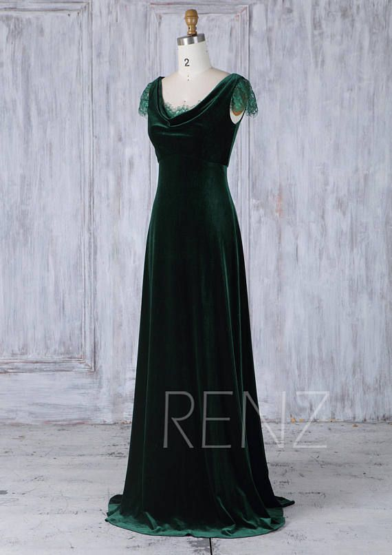 2017 Dark Green Velvet Bridesmaid Dress with Lace Cap Sleeves af23240e073d