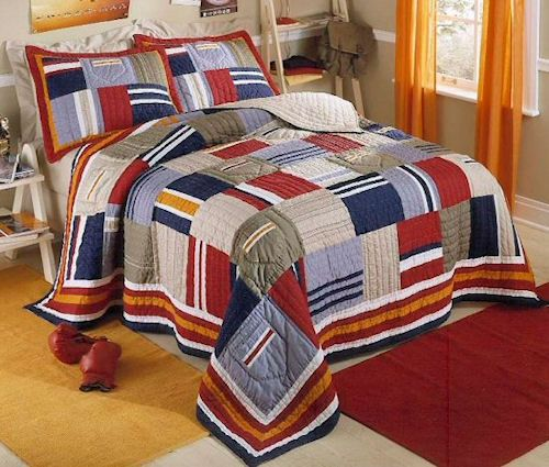 Navy Blue & Red Patchwork Teen Boy Bedding Twin Full/Queen Quilt ... : quilts for boys beds - Adamdwight.com