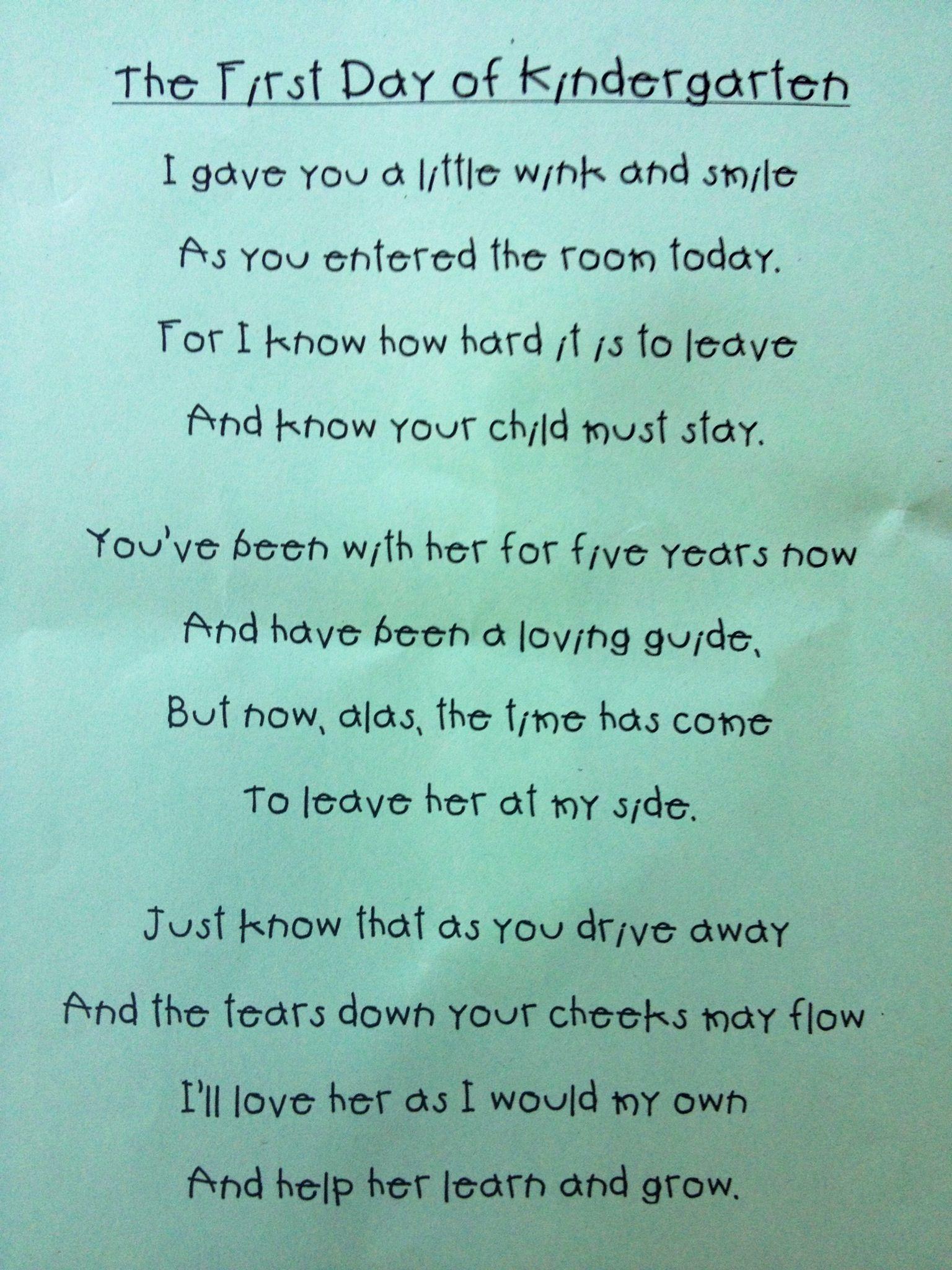 Kindergarten Poem For Parents School Teachers