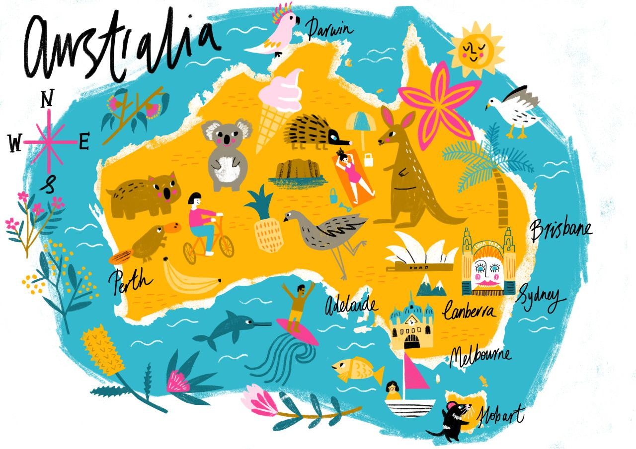 A very imprecise map of australia for my london cousins