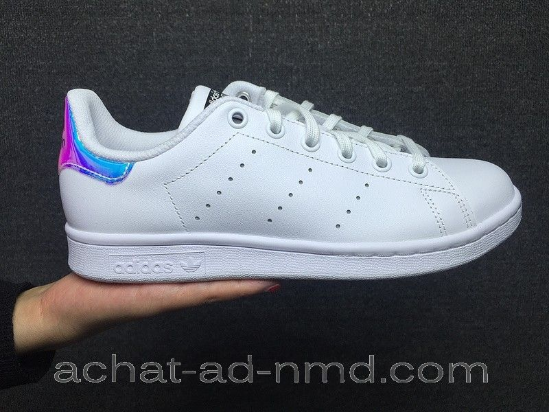 Adidas Stan Smith Hologram Iridescent Femme Blanc Bleu Rose - Adidas Stan  Smith Hologram Iridescent Femme