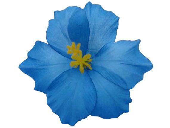 Blue Hawaiian Hibiscus Realistic Flower Hair Clip