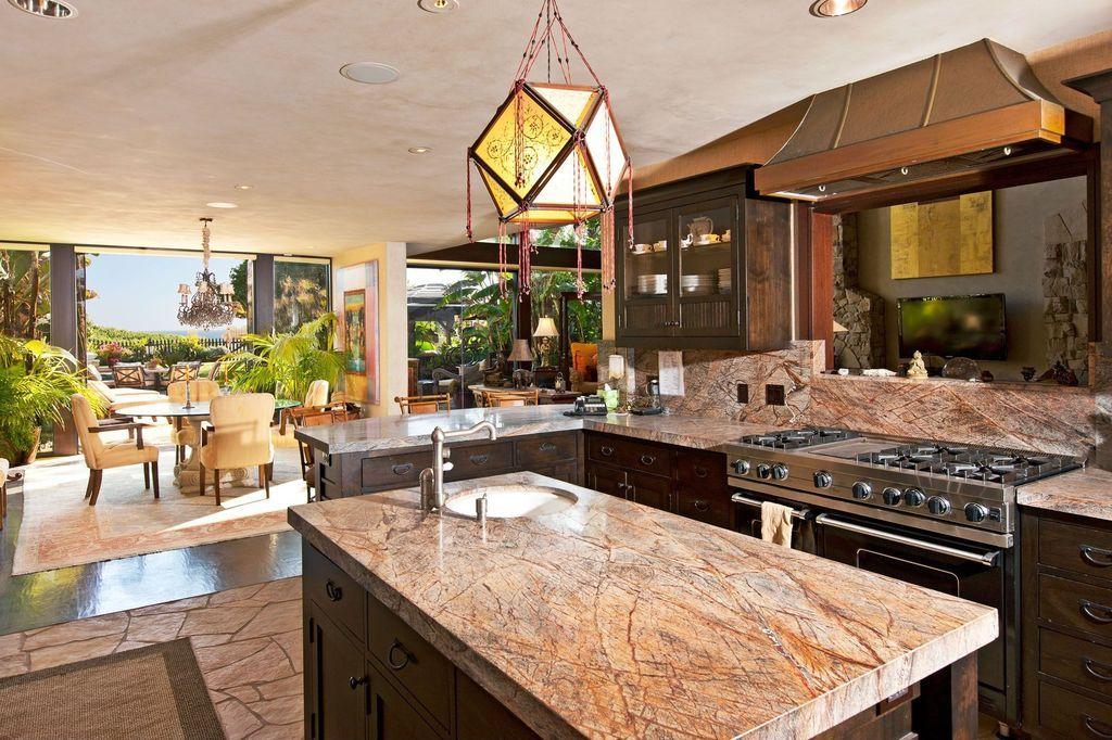 Tropical Kitchen With Hawaiian Bordeaux Granite Countertop, Inset Cabinets,  Complex Granite Counters, Breakfast Nook