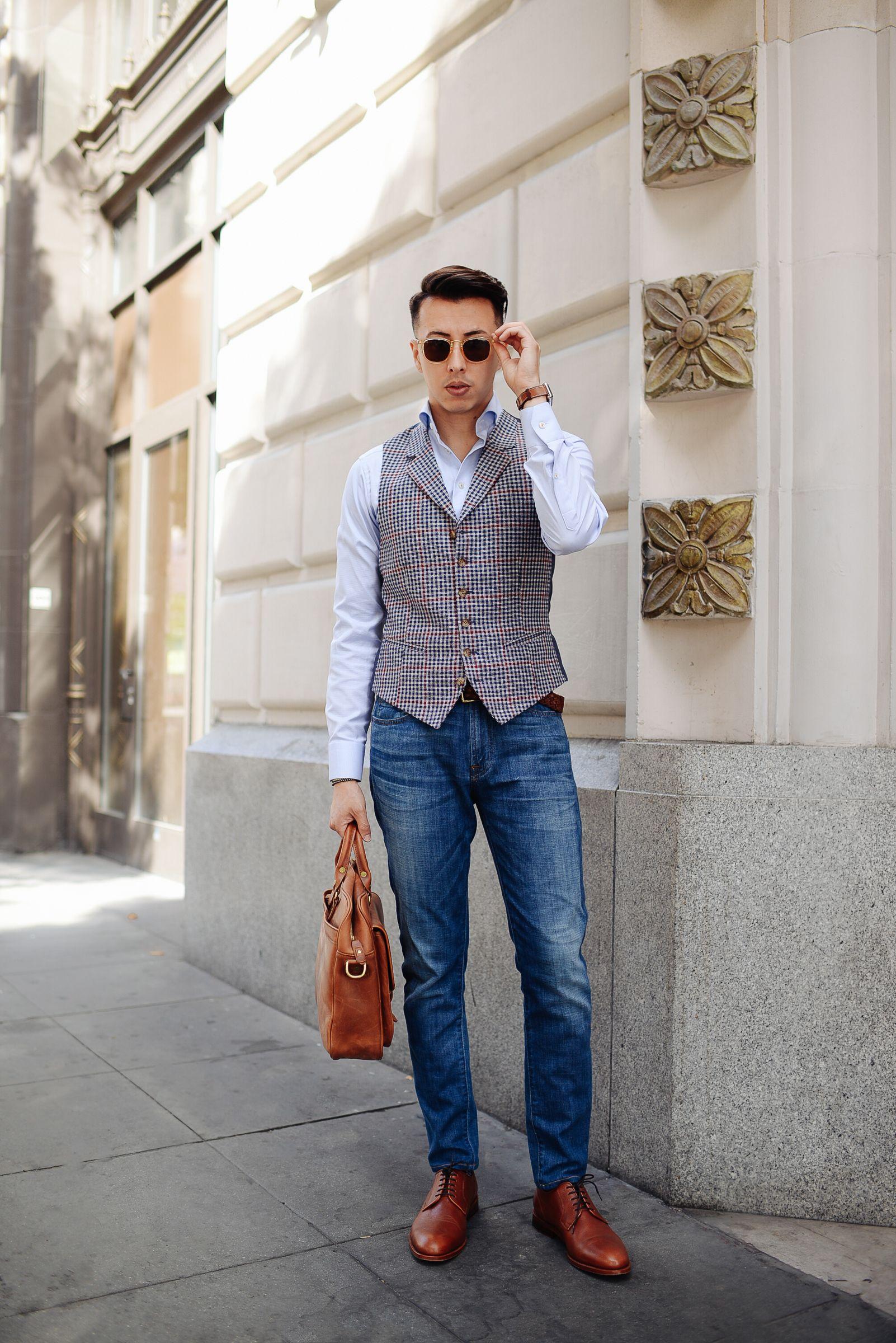 Plaid Vest Light Blue Dress Shirt Jeans Brown Dress Shoes