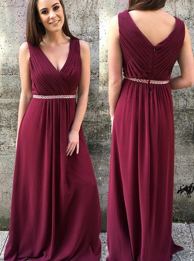 A-line V-neck Long Burgundy Satin Chiffon Prom Dresses