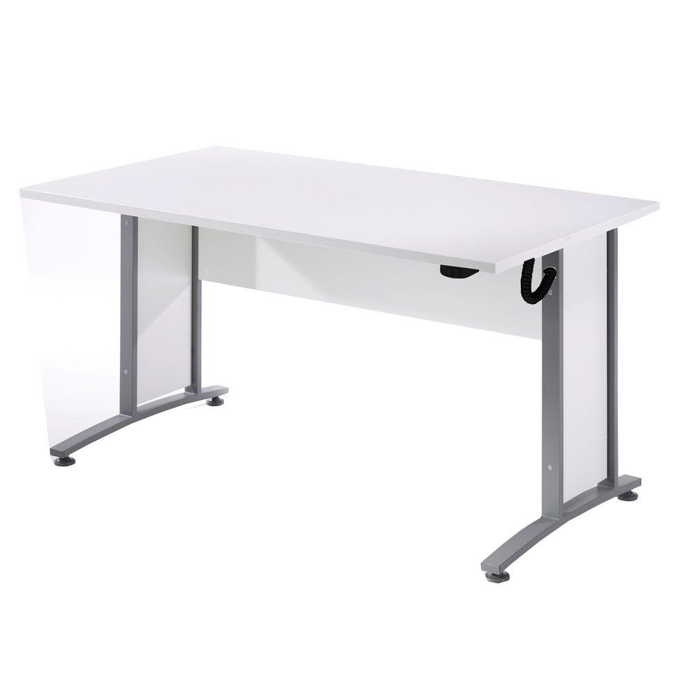 Bürosystem Prima Schreibtisch höhenverstellbar 150x80 cm Weiß Silber ...