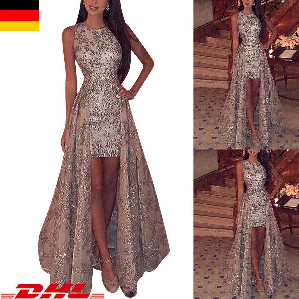 Damen Pailletten Abendkleid Brautjungfer Ärmellos Partykleid