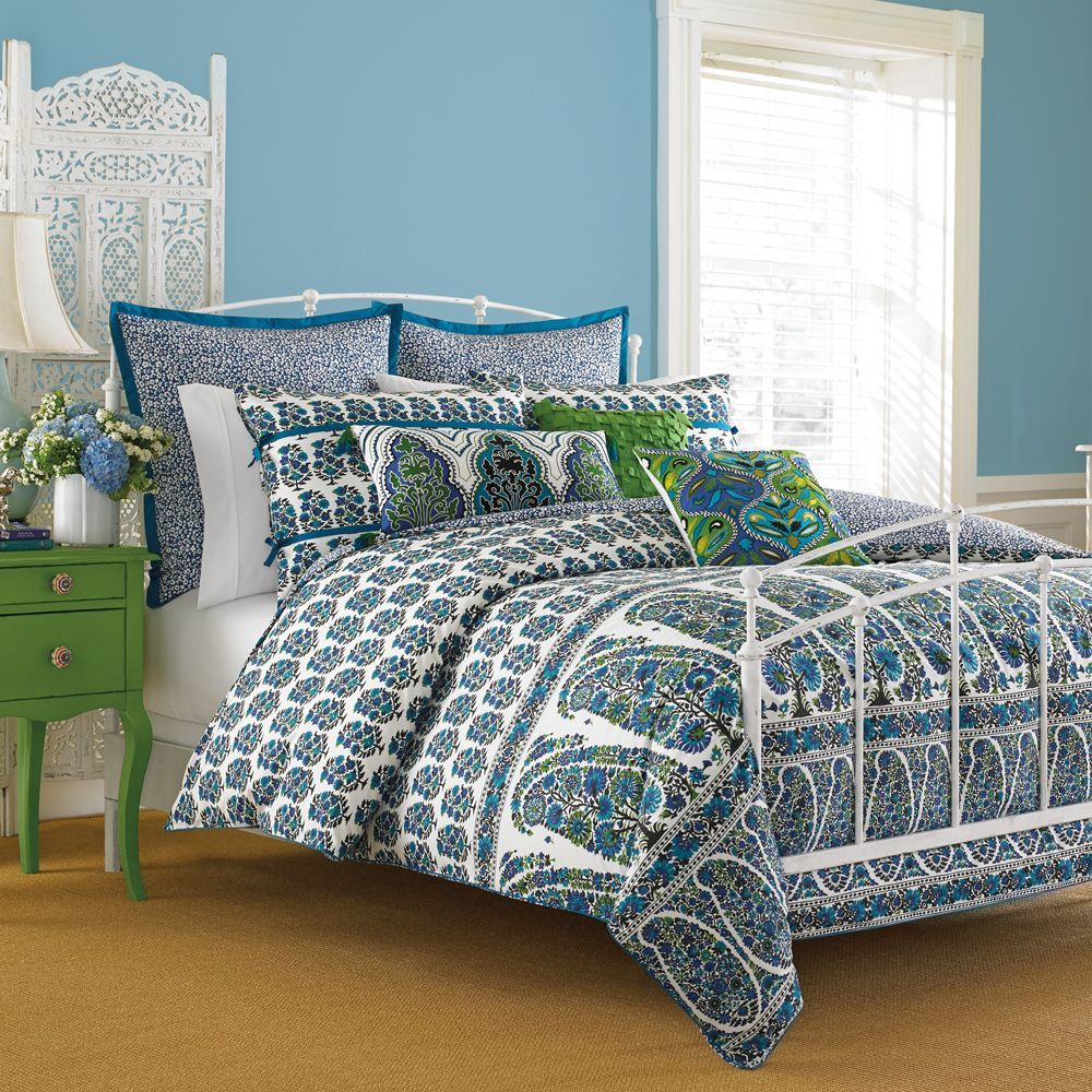Make A Stylish Statement In Your Master Suite Or Guest Room With This  Lovely Cotton Comforter, Showcasing A Block Print Inspired Botanical Motif. Pictures Gallery
