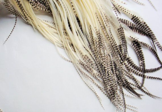 10 white and grizzly hair feathers  feather hair by MayFlyShop, $26.00