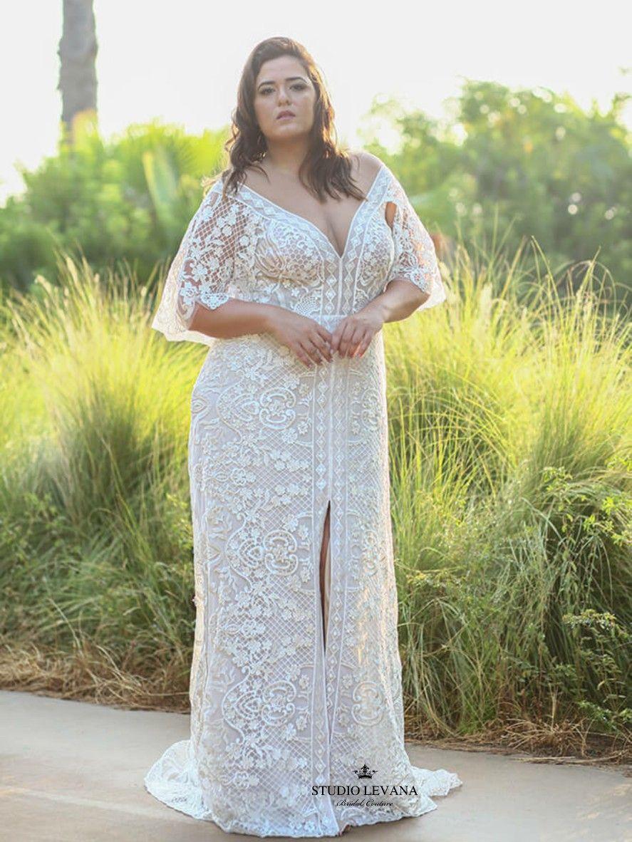 Beautiful Plus Size Mermaid Wedding Dress With Flutter Sleeves Luna By Studio Levana Wedding Dresses Dresses Mermaid Wedding Dress [ 1182 x 887 Pixel ]