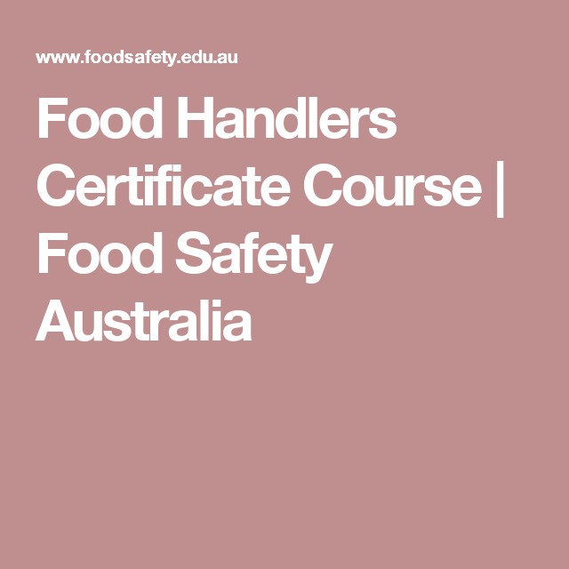 Food Handlers Certificate Course   Food Safety Australia   Coffee ...