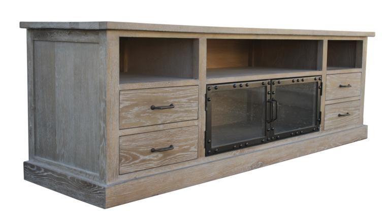 Meuble TV - Chartier - 4 tiroirs bois et 2 portes vitrées Salons