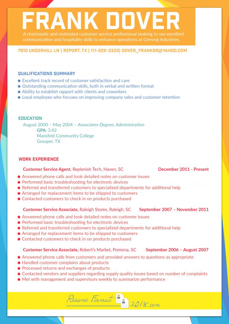Resume Examples 2018 Customer Service Good resume