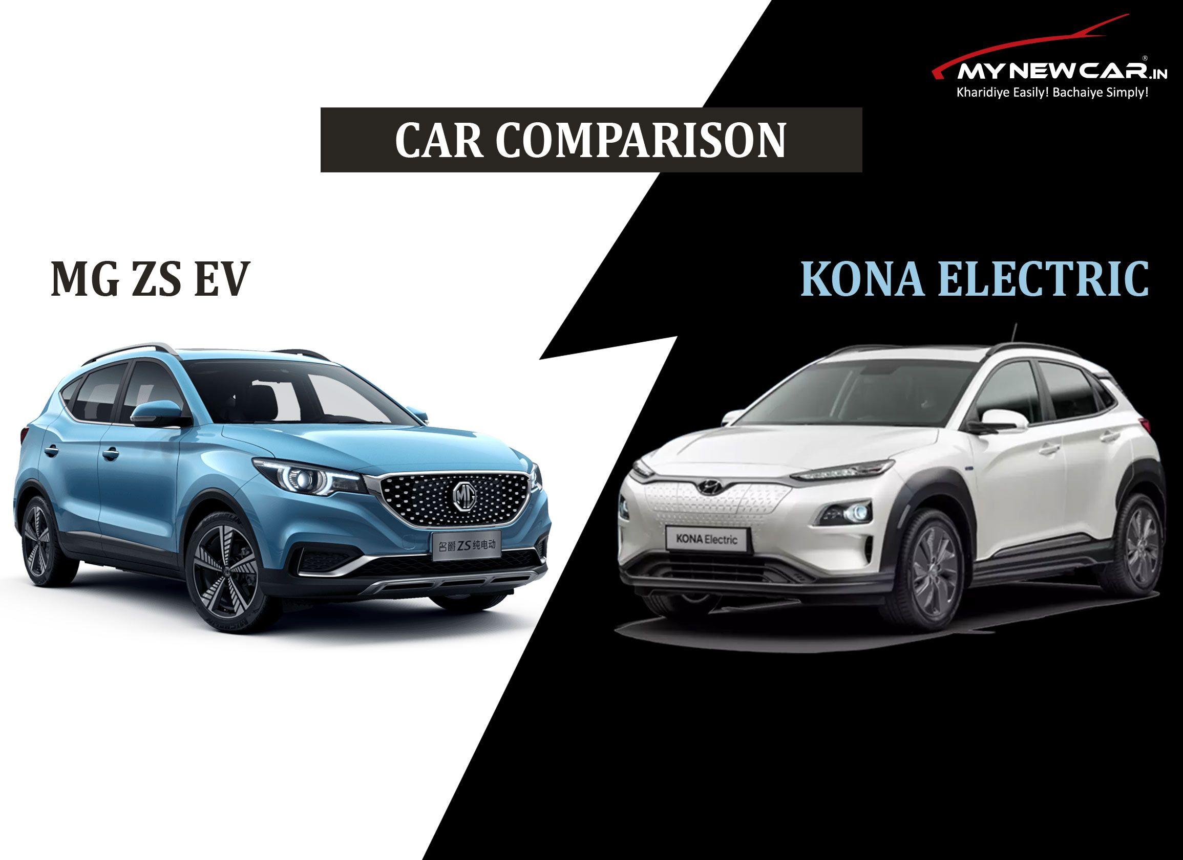 Car Comparison Mg Zs Ev Vs Hyundai Kona In 2020 Hyundai Car Comparison