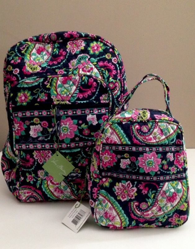eb951c9dc NWT Vera Bradley Large Campus Backpack With Lunch Box Bunch In Petal Paisley