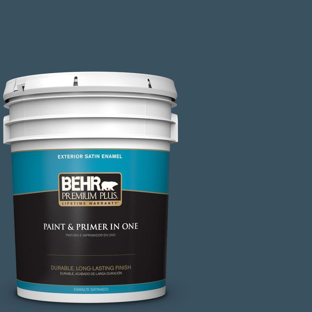 BEHR Premium Plus 5 gal. #PPU13-20 Restless Sea Satin Enamel Exterior Paint