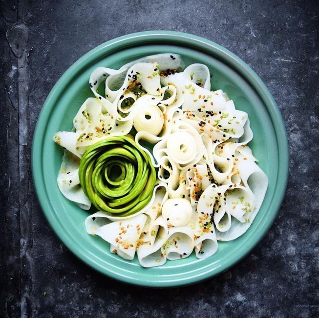 (Photo: Colette Dike) Daikon pappardelle with sesame-sushi vinaigrette, wasabi and sesame seeds