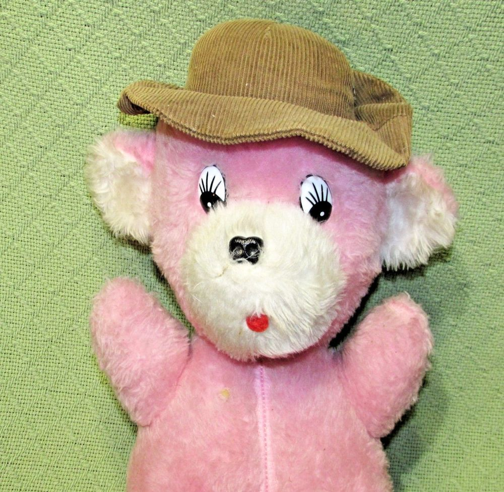Vintage Pink Teddy Bear 17 Brown Hat Hard Stuffed Plush Animal