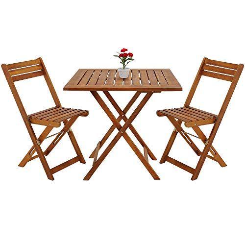 Deuba Salon De Jardin Pliant Style Bistrot Avec 2 Chaises Et 1
