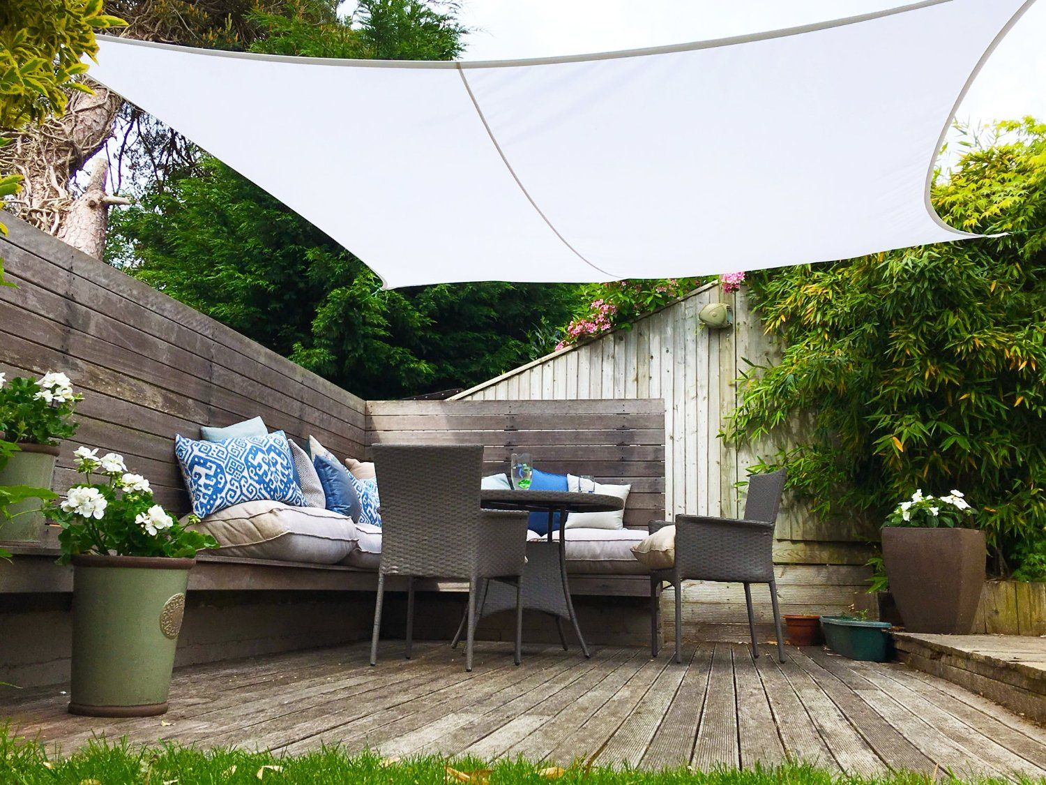 Clara Shade Sail Pure White Waterproof Sun 98% UV Premium 3.6m Square Garden Canopy & Clara Shade Sail Pure White Waterproof Sun 98% UV Premium 3.6m ...