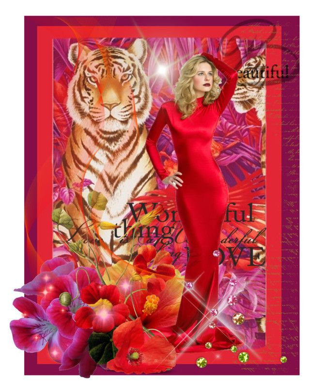 """""""Tiger Temptress"""" by lulurose98 ❤ liked on Polyvore featuring art"""