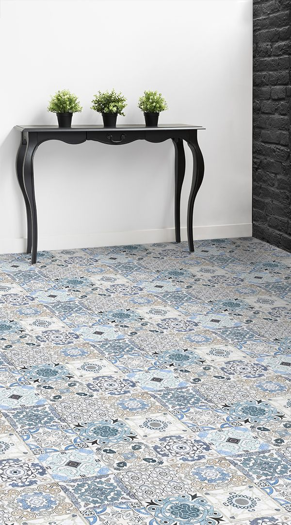 Blue Tile Effect Vinyl Flooring Floor Pinterest Flooring