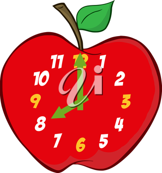 Iclipart Cartoon Clip Art Illustration Of An Apple Clock Showing 8 O Clock Clip Art Free Clipart Images Cartoon Clip Art