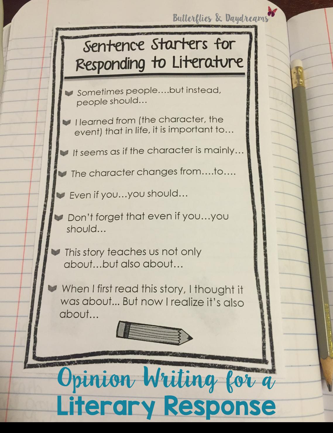 Literary Response Opinion Essay Unit Grades 3 5