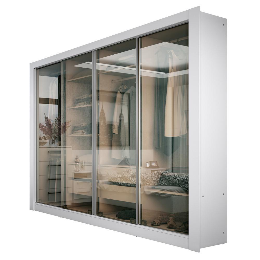 Guarda Roupa 4 Portas De Vidro Reflecta Madesa Branco