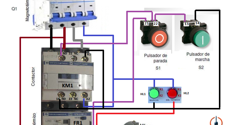 Control Three Phase Motor Starter With, Wiring Diagram Start Stop Motor Control