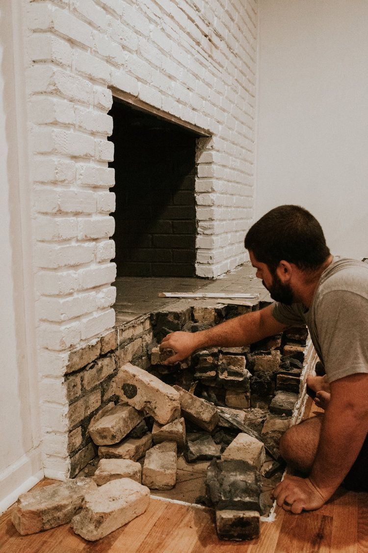 Removing Our Fireplace S Brick Hearth In 2020 Brick Hearth