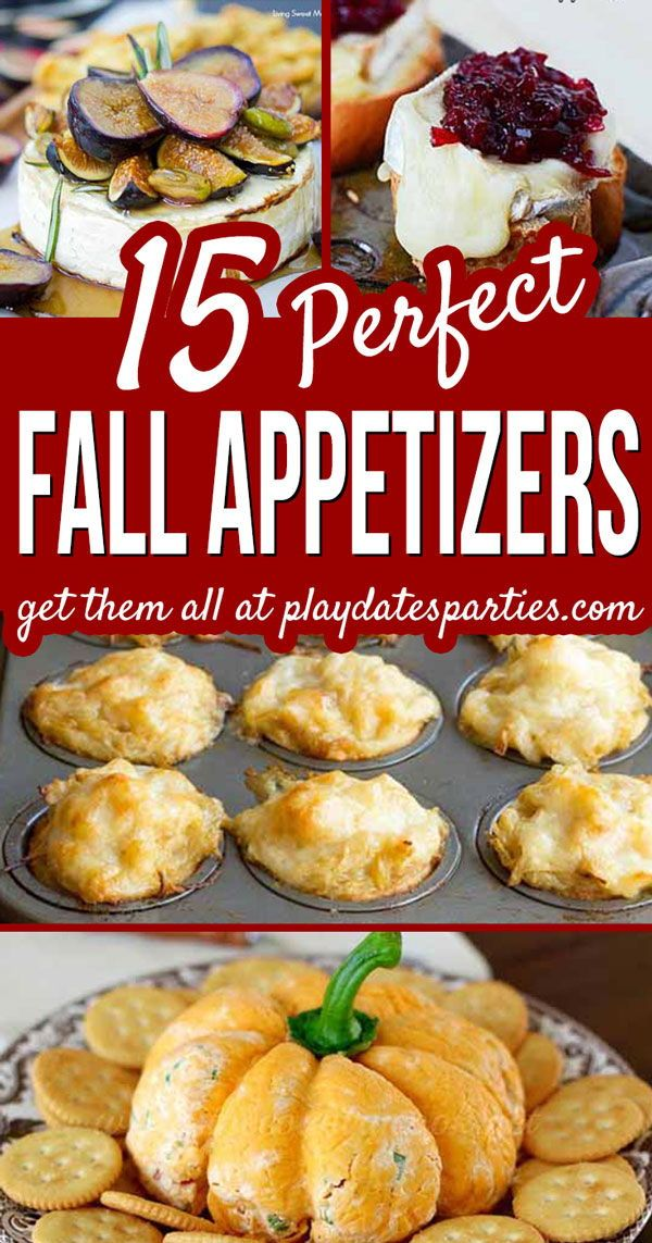 Here are the BEST fall appetizers to make for entertaining this year. Whether it's hosting an early autumn friendsgiving, or easy make-ahead finger foods for Thanksgiving dinner, your guests won't be disappointed.#appetizers #fall #autumn #partyfood #partyideas #entertaining #foracrowd #easypartyideas #fingerfoodappetizers